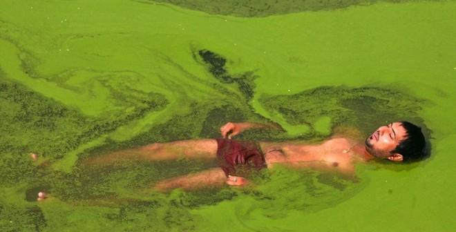 24h qua ảnh: Người đàn ông thư thả tắm mát giữa hồ nước ô nhiễm