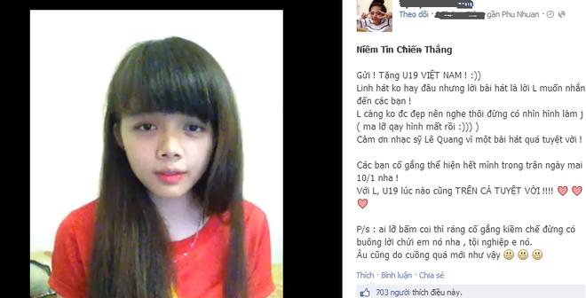 Fan nữ xinh đẹp hát tặng U19 Việt Nam