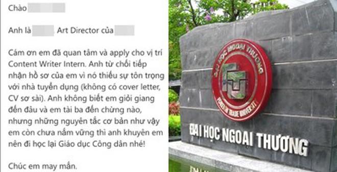 Nhà tuyển dụng bị chỉ trích vì nhạo báng sinh viên Ngoại thương