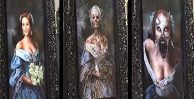 Bức tranh thiếu nữ xinh đẹp biến thành hình ảnh kinh dị