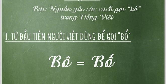 Truy tìm nguồn gốc của các cách gọi Bố trong tiếng Việt