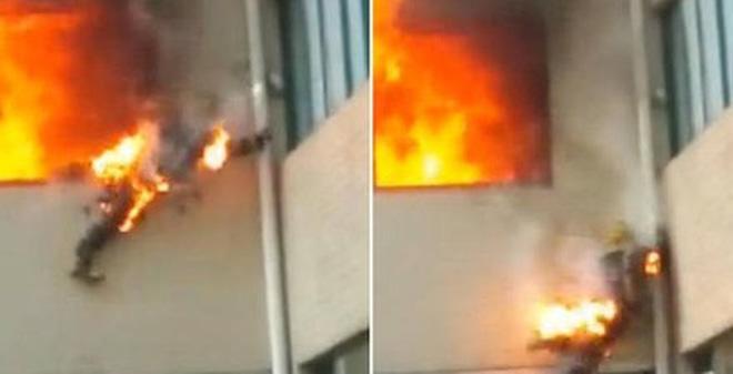 """Hãi hùng giây phút lính cứu hỏa bị biến thành """"đuốc sống"""""""
