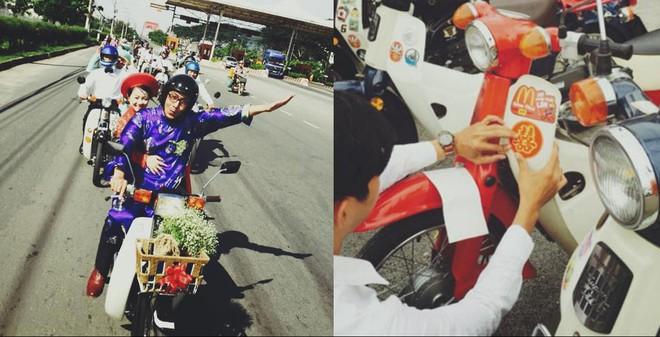 Độc đáo đám cưới rước dâu bằng xe Cub ở Sài Gòn