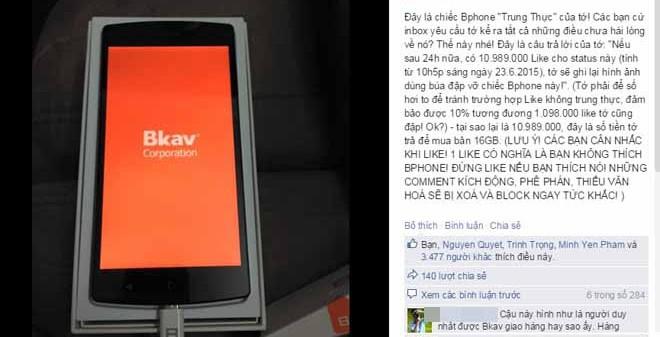 Chuyên gia nói gì về chuyện đập vỡ Bphone nếu đủ 10.989.000 like?