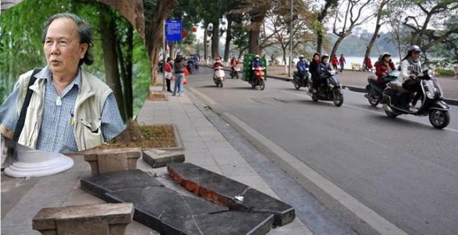 """Chiếc ghế đá cổ ở Hồ Gươm bị đâm vỡ: """"Nhà rùa học"""" lên tiếng"""