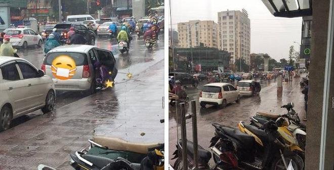 Hành động quá xấu hổ giữa phố Hà Nội ngày mưa