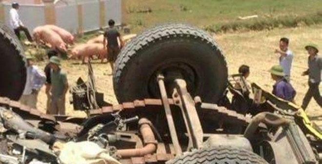 """Xe tải chở lợn cuốn xe máy vào gầm rồi """"ngửa bụng"""" dưới ruộng"""