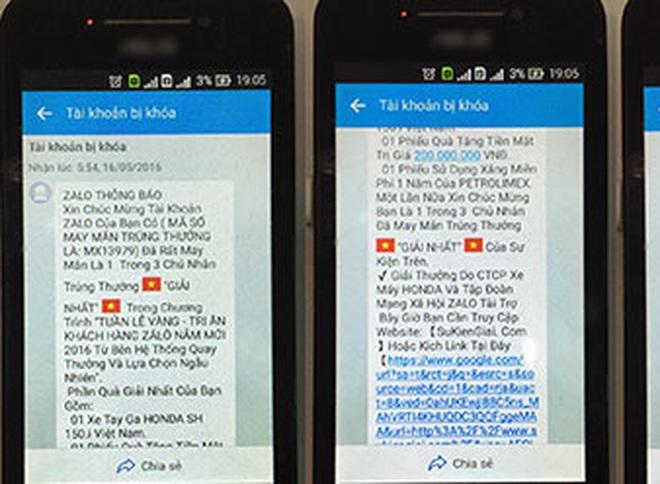 Hàng chục người bị lừa hơn 800 triệu vì tin nhắn trúng thưởng