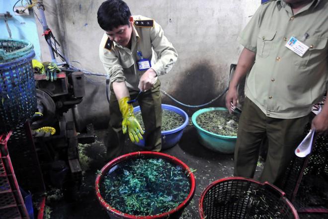 Bắt quả tang cơ sở nhúng rau muống vào hóa chất tạo màu - Ảnh 2.