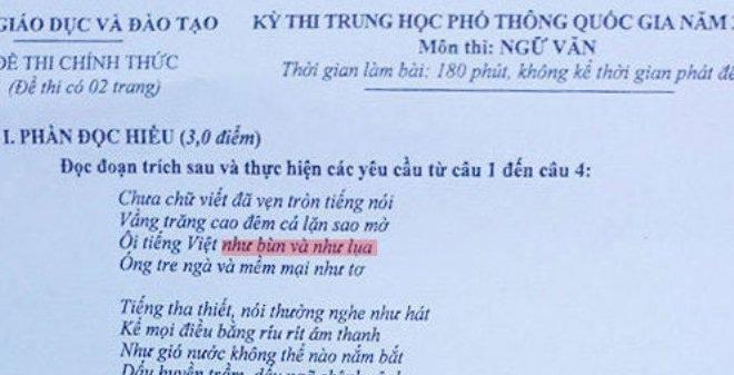 Bộ GD&ĐT lên tiếng về câu thơ gây tranh cãi trong đề thi Văn