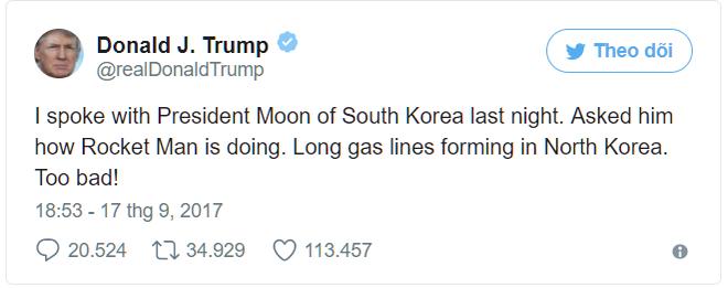 Tổng thống Trump lên Twitter gọi lãnh đạo Triều Tiên Kim Jong Un là Người tên lửa - Ảnh 1.