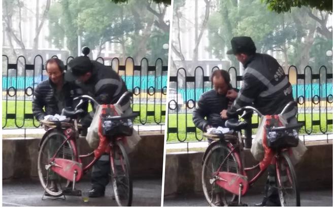 Cái rùng mình của ông cụ nhặt rác và hành động đẹp từ chiến sĩ Cảnh sát