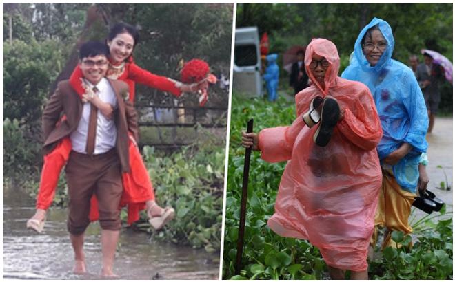 Quảng Trị: Nhà trai xắn quần, cắp dép vượt lũ đi đón dâu ngày mưa bão