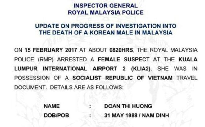 Malaysia chưa cho Việt Nam tiếp xúc với nghi phạm Đoàn Thị Hương
