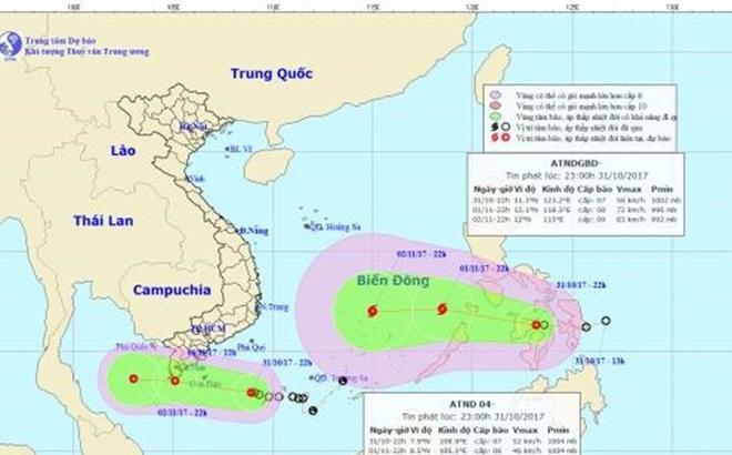 Dự báo thời tiết 1.11: Áp thấp nhiệt đới mạnh thành bão đi vào biển Đông