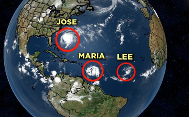"""Nước Mỹ lại """"đứng ngồi không yên"""" với 3 cơn bão mới, một trong chúng sẽ là siêu bão cấp 4"""