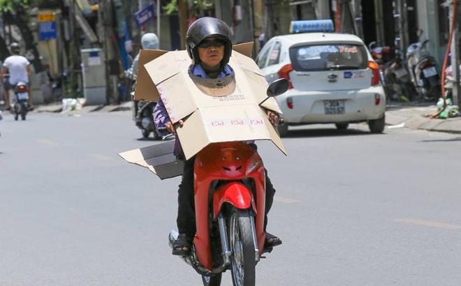 Người Hà Nội mặc bìa carton, hai tay hai ô giữa ngày nắng nóng lịch sử