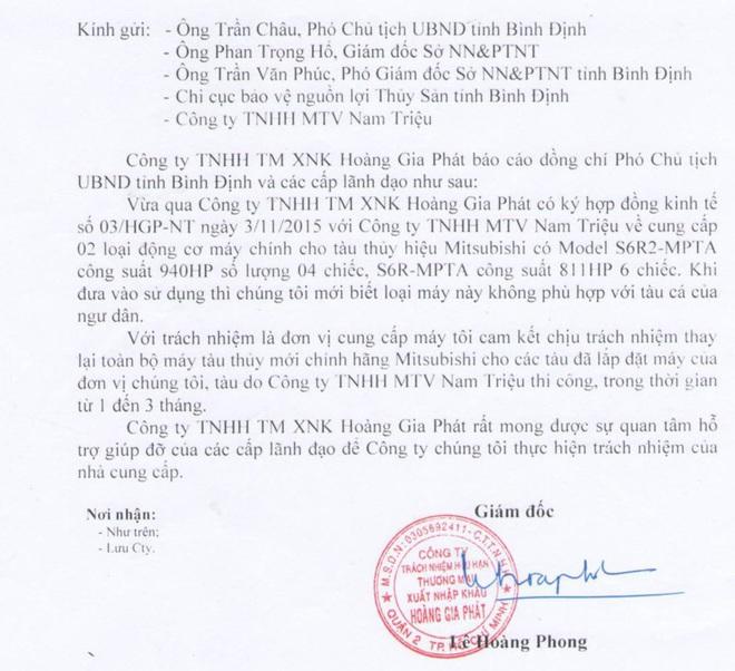 Công ty bị Phó Chủ tịch tỉnh nói mị dân xin thay lại máy chính hãng cho tàu của ngư dân - Ảnh 1.
