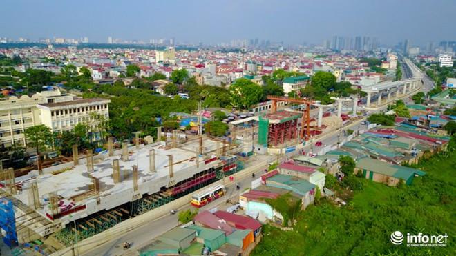 Toàn cảnh tuyến đường sắt Metro Nhổn-Ga Hà Nội đang thi công - Ảnh 1.