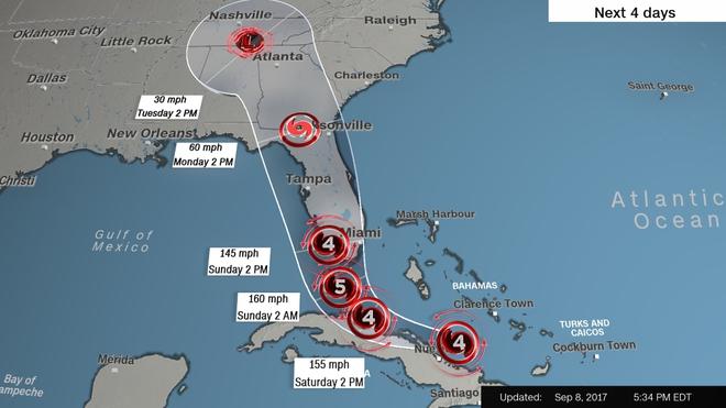 Nhìn đường đi của bão Irma, Tổng thống Mỹ thừa nhận may mắn - Ảnh 1.