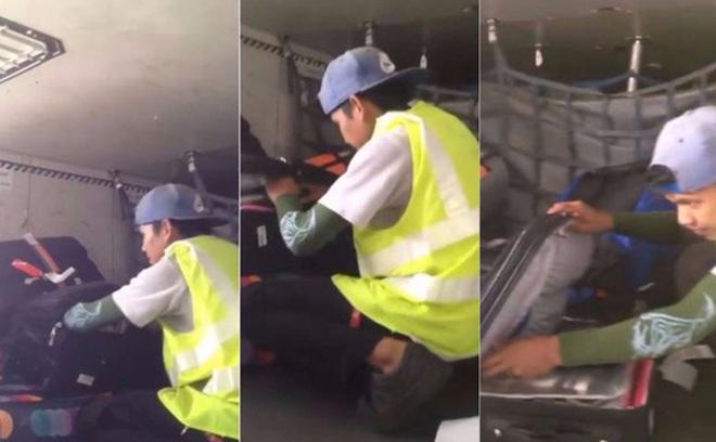 Không biết bị quay phim, nhân viên sân bay vô tư trộm hành lý
