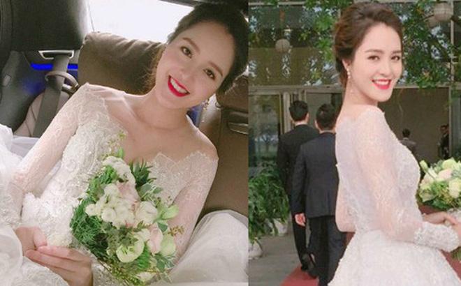 Á hậu Hoàng Anh rạng rỡ với váy trắng tinh khôi trong tiệc cưới