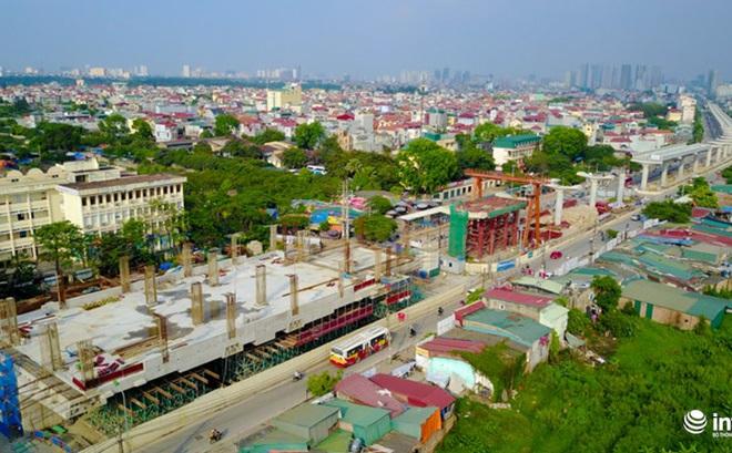 Toàn cảnh tuyến đường sắt Metro Nhổn-Ga Hà Nội đang thi công