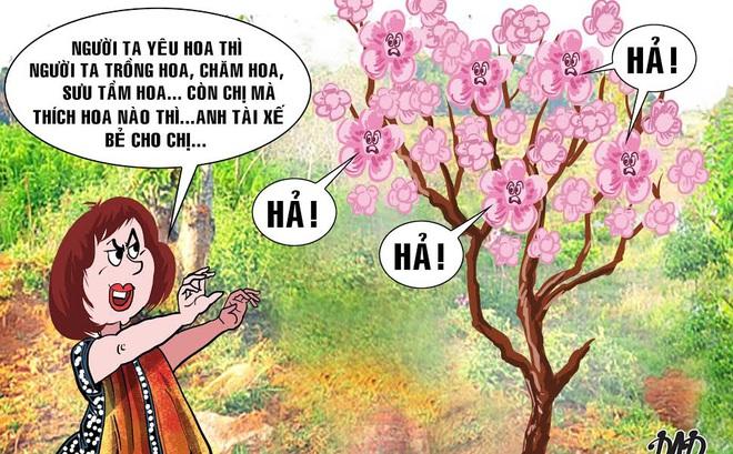 HÍ HỌA trong tuần: 'Chị Phó Giám đốc, chị thích hoa nào thì anh tài xế bẻ cho'