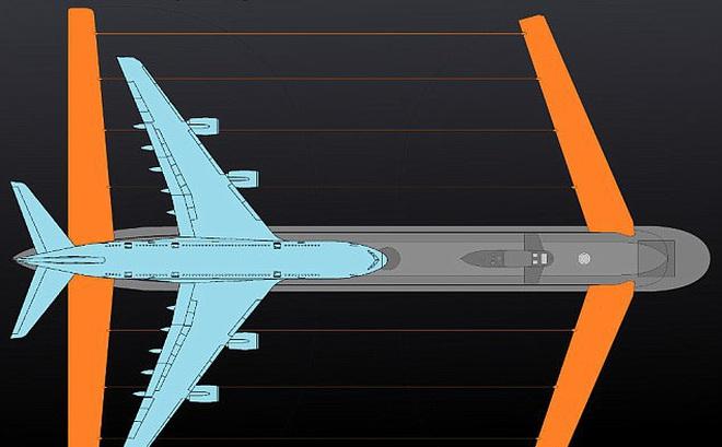 Nga đóng tàu ngầm khổng lồ có cánh lớn gấp hai lần máy bay phản lực