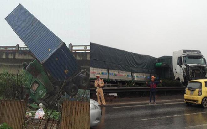 Tránh vụ va chạm giao thông, xe container lao qua thành cầu Thanh Trì đâm xuống đất