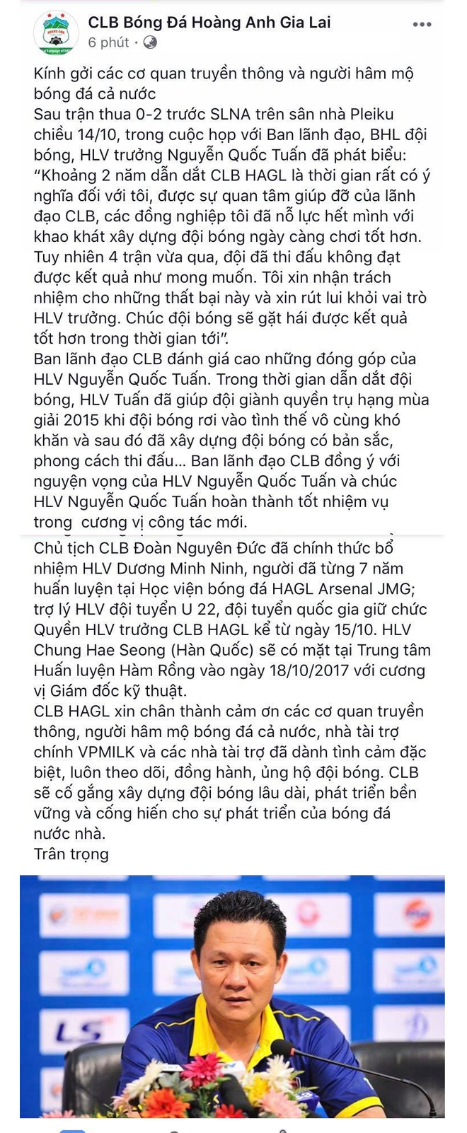 Nóng: HLV Quốc Tuấn từ chức, bầu Đức đưa trợ lý ĐT Việt Nam lên dẫn dắt HAGL - Ảnh 1.