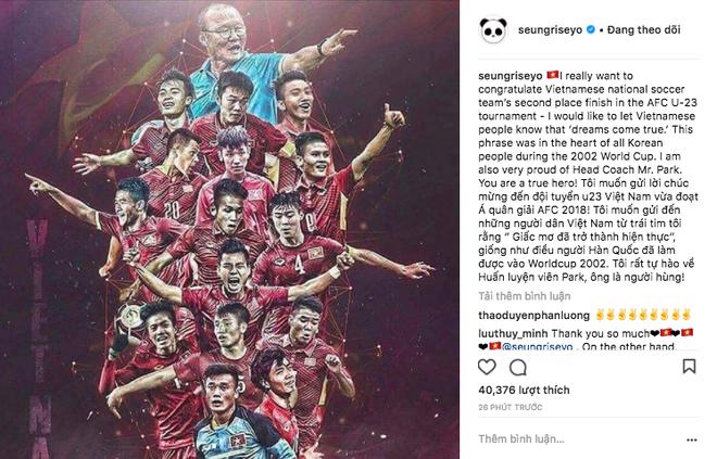 Ca sĩ nhóm nhạc đình đám Big Bang gửi lời chúc mừng đến đội tuyển U23 bằng tiếng Việt - Ảnh 1.