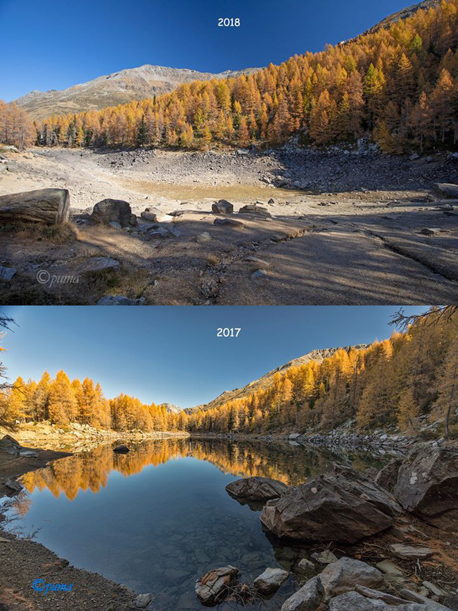 Hồ nước nổi tiếng ở độ cao 2.000m trên dãy Alps bỗng nhiên cạn trơ đáy - Ảnh 2.