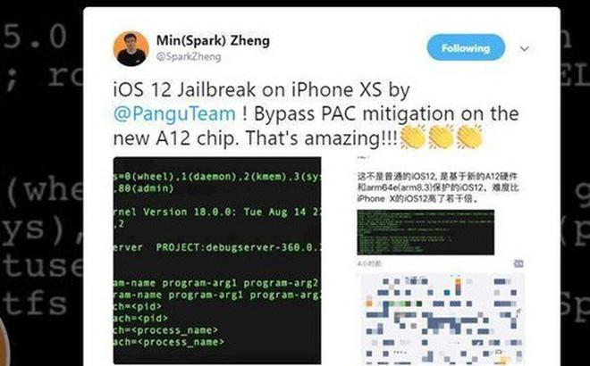 Hacker Trung Quốc bẻ khóa thành công iOS 12 trên iPhone XS chỉ sau