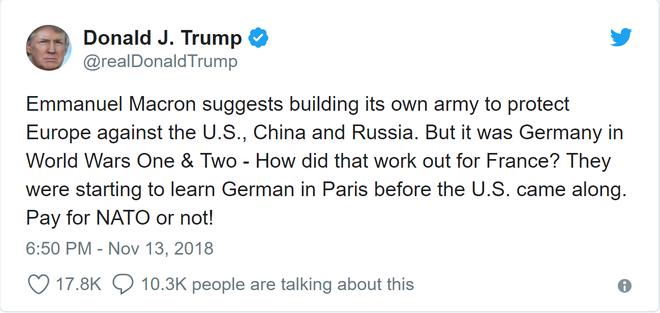 Chưa nguôi thịnh nộ, TT Trump lại tiếp tục vỗ mặt tới tấp TT Macron và đồng minh châu Âu - Ảnh 1.