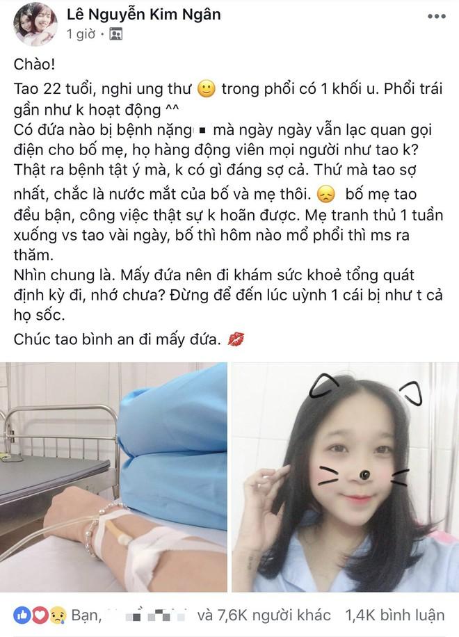 Cô gái 22 tuổi bị u phổi: Bệnh tật không có gì đáng sợ cả, sợ nhất nước mắt bố mẹ thôi - Ảnh 1.