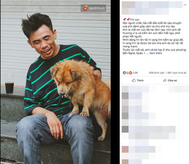 Cộng đồng xót xa khi chú chó mù của anh đánh giày câm bỗng mất tích suốt nhiều ngày, nghi bị trộm bắt đi - Ảnh 1.