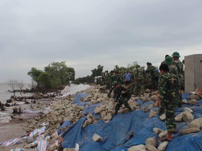 200 bộ đội gia cố đê biển chống bão số 9 ở miền Tây  - Ảnh 2.