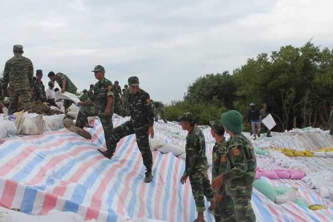 200 bộ đội gia cố đê biển chống bão số 9 ở miền Tây  - Ảnh 4.