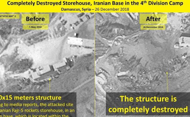 Ảnh vệ tinh mới nhất chứng minh kho tên lửa Iran ở Syria bị Israel đánh phá tan tành
