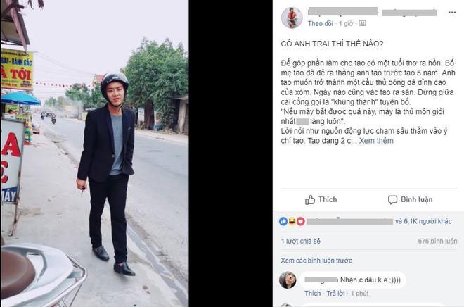 Bức tâm thư kể xấu anh trai nhận nghìn like, gây bão mạng xã hội ngày hôm qua - Ảnh 1.