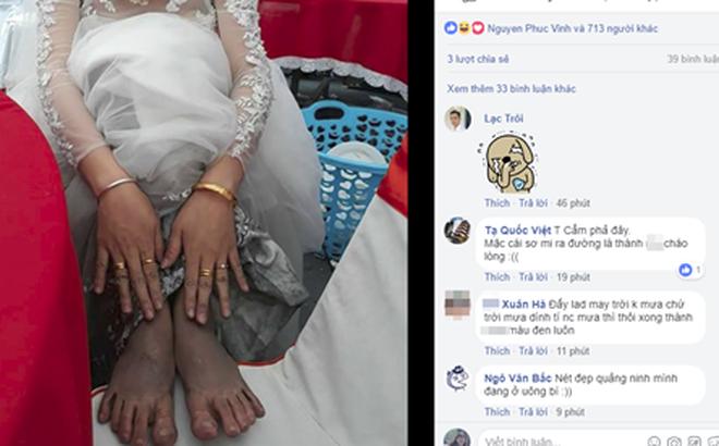 Bức ảnh cô dâu và đôi chân lấm lem khiến người xem vừa buồn cười vừa khó hiểu