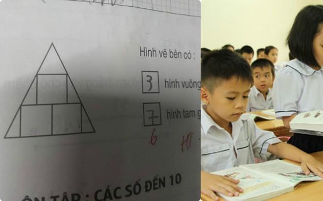 Bài toán hình tiểu học và đáp án gây nhiều tranh cãi của người chấm