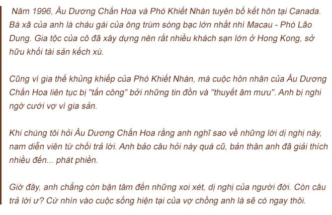Âu Dương Chấn Hoa trả lời độc quyền báo Việt Nam: 20 năm không con cái, hạnh phúc viên mãn bên vợ tỷ phú - Ảnh 7.