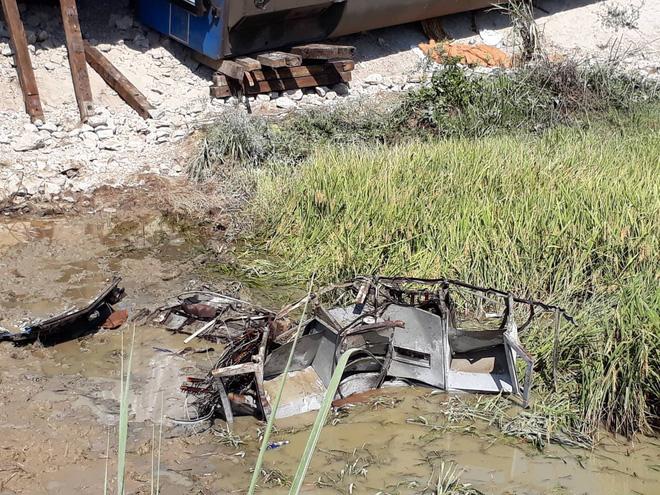 Hiện trường vụ tai nạn đường sắt ở Thanh Hóa.