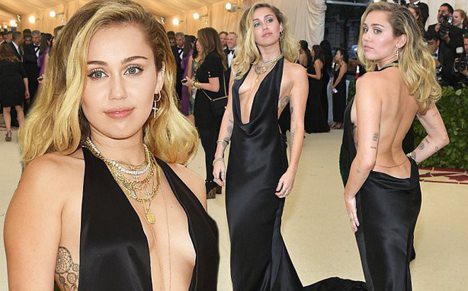 Bộ váy quá hở của Miley Cyrus gây chú ý tại thảm đỏ thời trang danh giá nhất thế giới