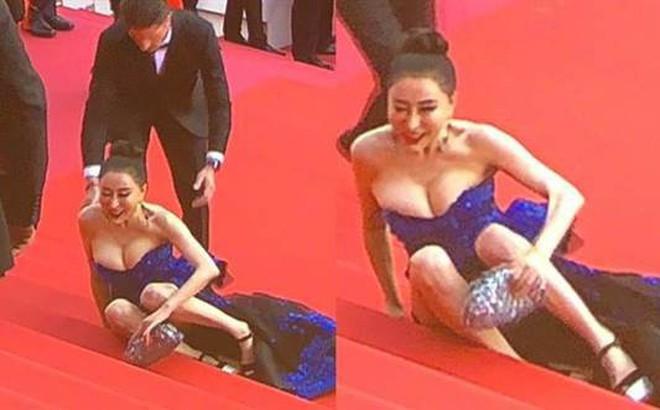 Hoa hậu Trung Quốc giả vờ ngã để gây chú ý trên thảm đỏ Cannes 2018?