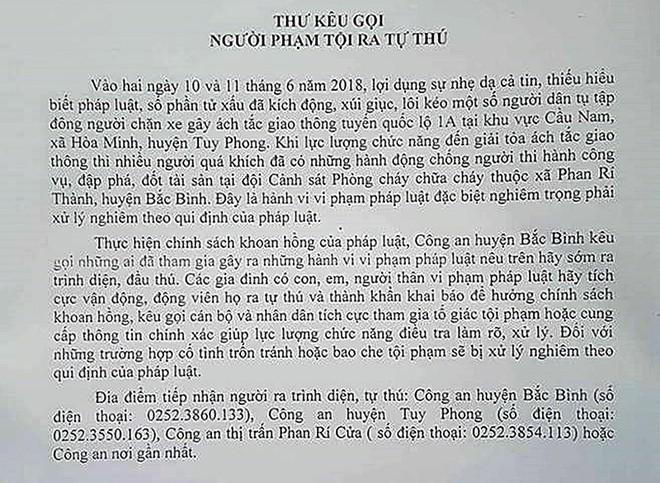 Chủ tịch huyện Tuy Phong đăng Facebook kêu gọi dân bình tĩnh - Ảnh 1.