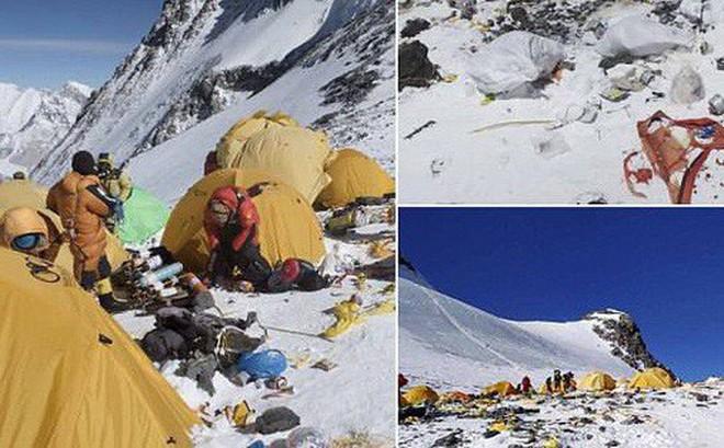 Những hình ảnh gây shock: Đỉnh Everest danh giá giờ đã trở thành bãi rác cao nhất thế giới