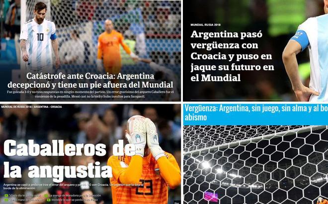"""""""Xấu hổ"""", """"thảm họa"""", """"đau khổ"""", báo Argentina câm lặng vì Messi và đồng đội"""